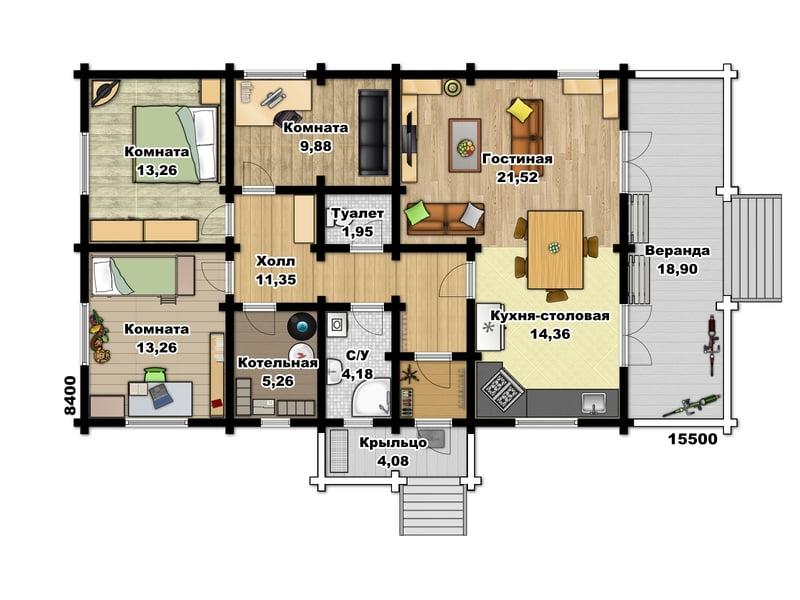 одноэтажные дома из бруса под ключ